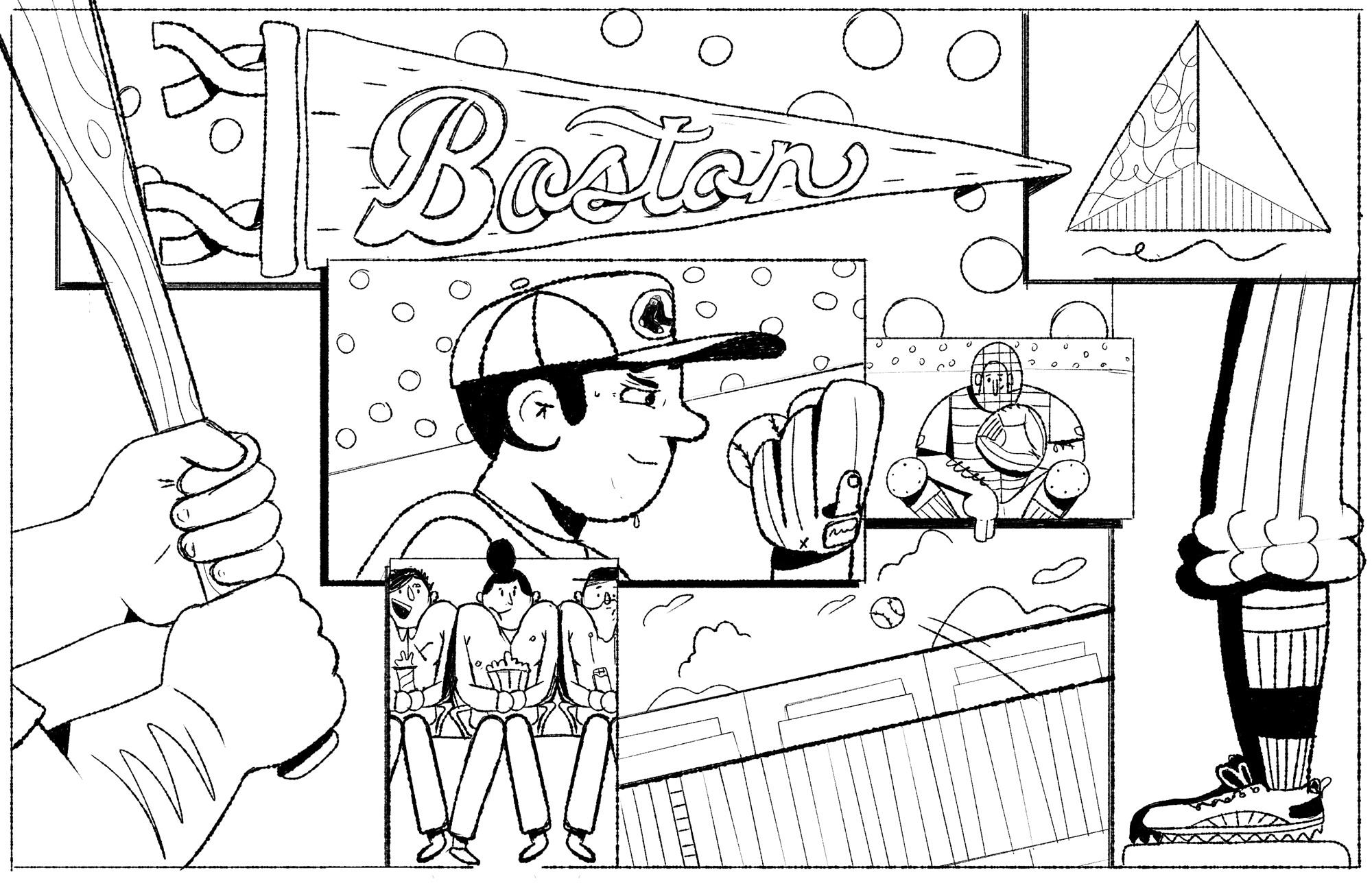 Boston Time Out Mural - Illustration Kirk Wallace Baseball Boston Sketch 2