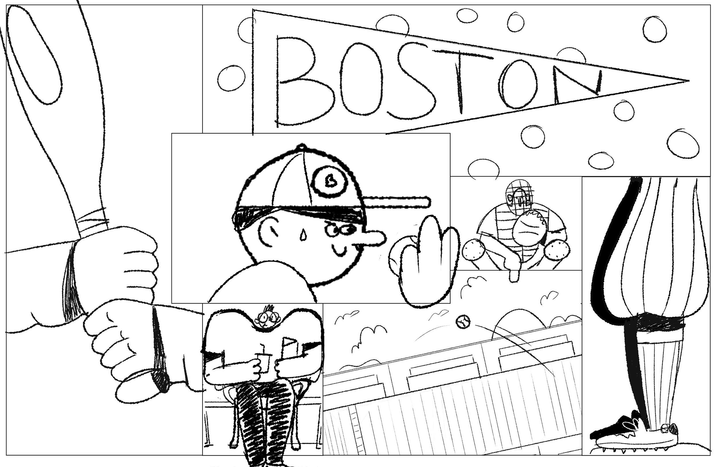 Boston Time Out Mural - Illustration Kirk Wallace Baseball Boston Sketch 1