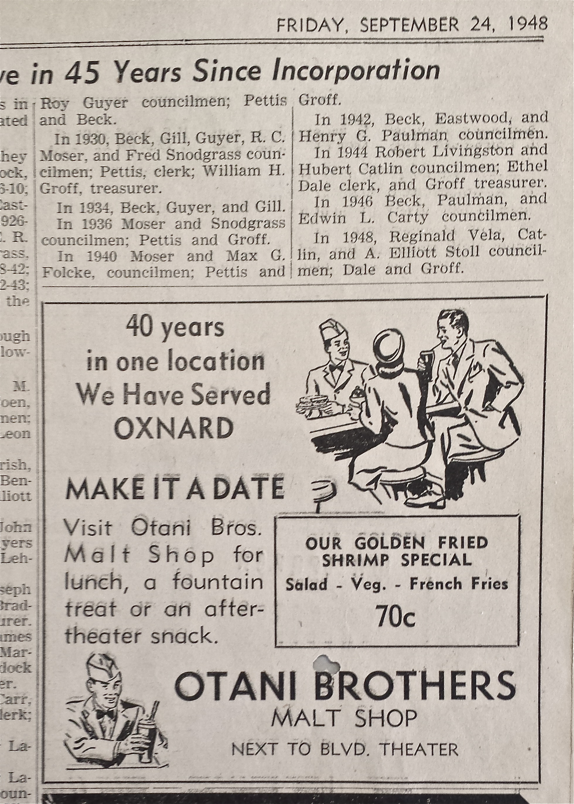 """Newspaper clipping from 1948 from Otani Brothers Malt shop. """"40 years in one location We Have Served OXNARD"""""""