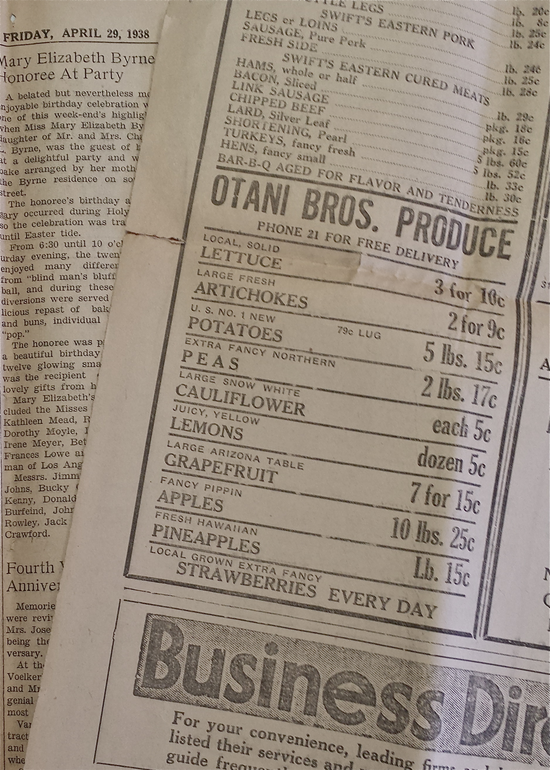 """Otani Bros. Produce newspaper add from 1938. Our phone number was 21! """"Phone 21 for Free Delivery"""""""