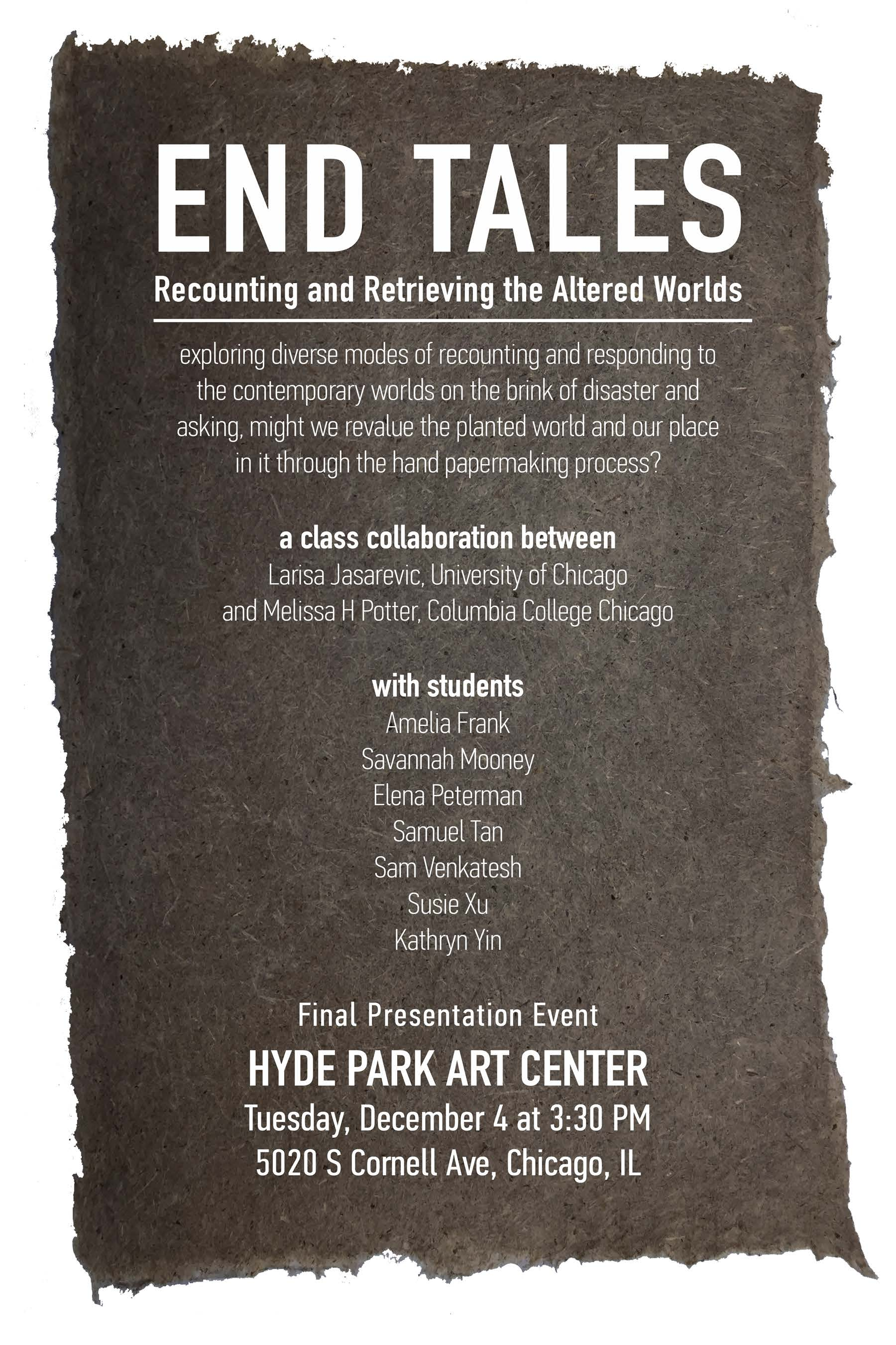 End Tales: Recounting and Retrieving the Altered Worlds event poster