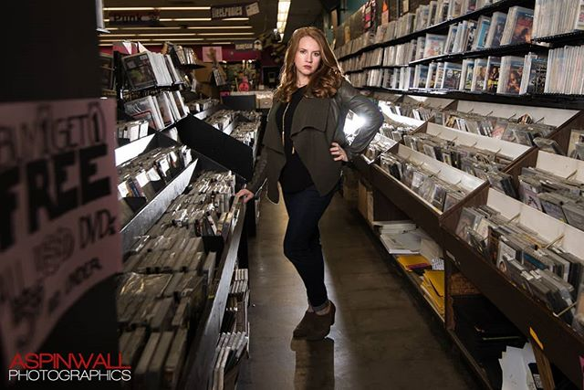 Sometimes you just have to shoot in a record store. Thanks to my model, Emily, for her sense of humor.  And big thanks to Vintage Vinyl in St. Louis, MO for letting us invade their store!  #vintagevinyl #cheetahstand #interfits1 #nikon #delmarloop #ocfphotography