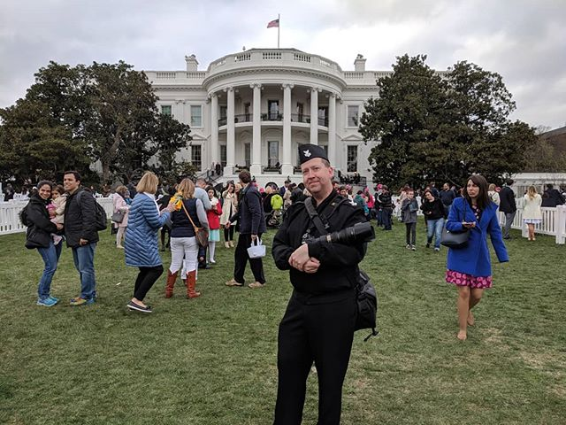 My day gig as Navy Band photographer. If you look closely, you can see all the Navy Band peeps behind me on the portico.  #navyband #whitehouseeastereggroll #dcheadshotphotographer