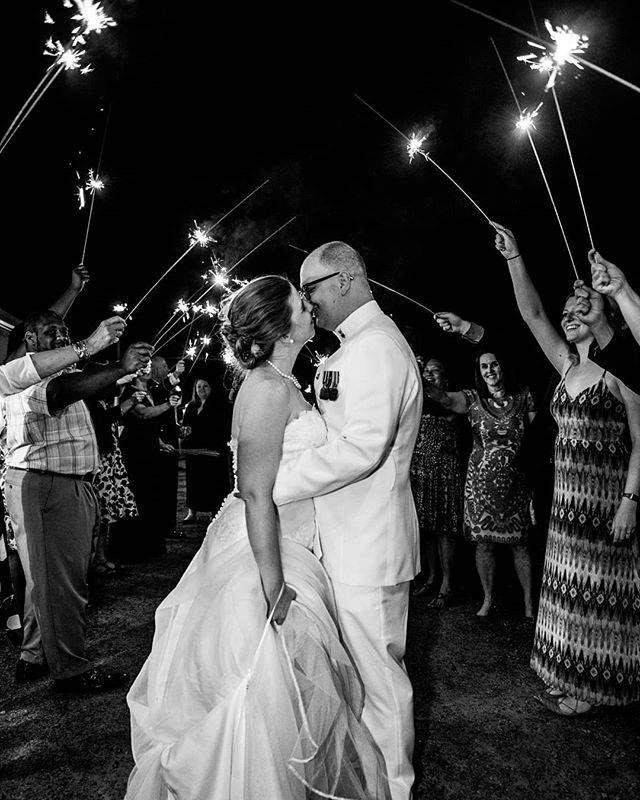 Kate and Eric left the party in style with a big sparkler exit.  #briarpatchinn #militarywedding #sparklersendoff #virginiaweddingphotographer #gainesvillevawedding