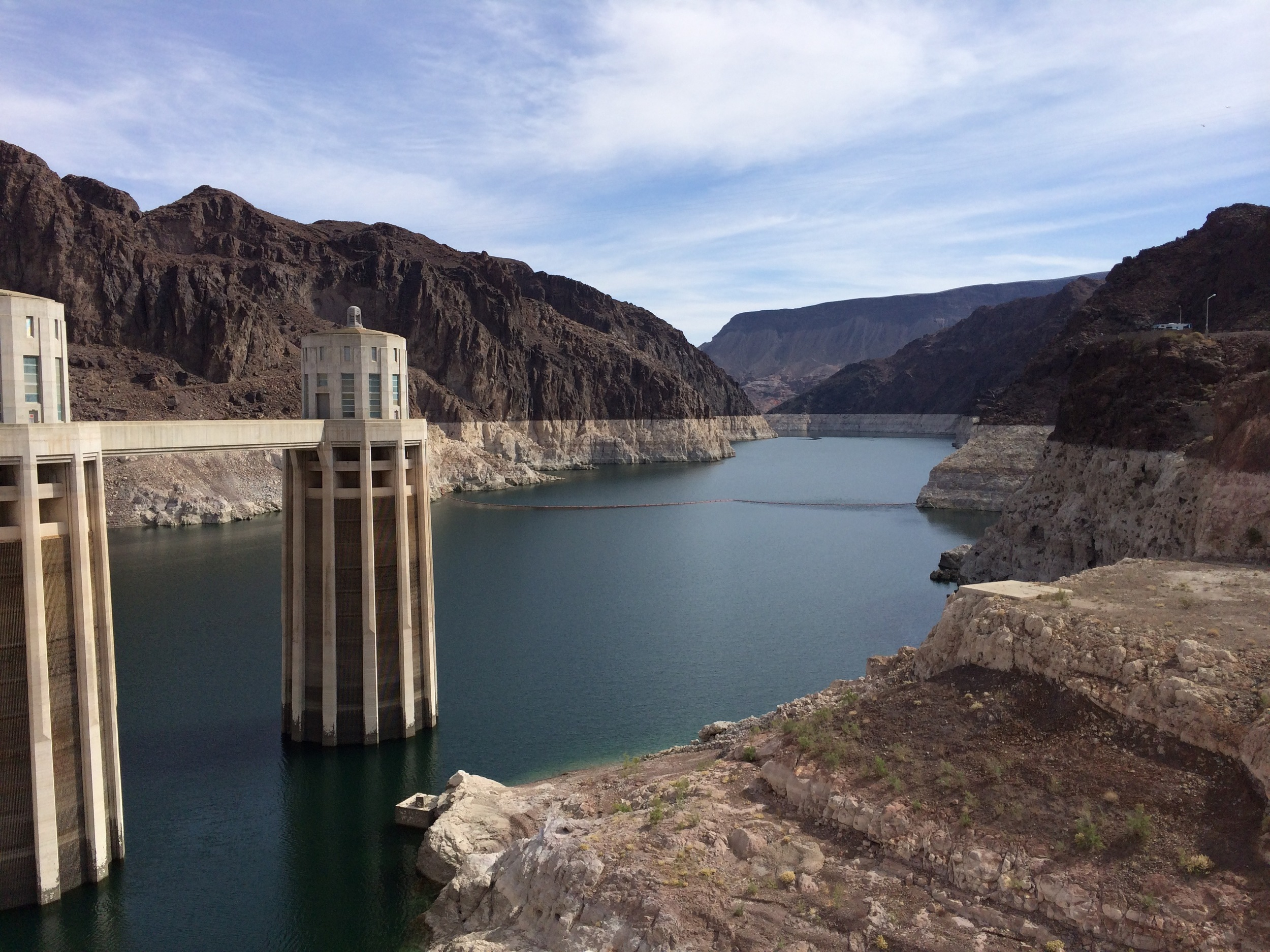 Hoover Dam and Lake Mead National Recreation Area. The lake is very low as is obvious from the water line marks.