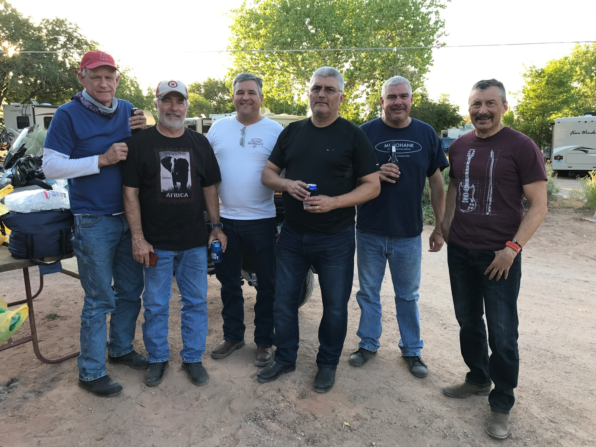 At the KOA Camp Grounds in Moab, Ut. L-R: Rob, Ricardo, Ed, Hiram, Albert, Marco. Not pictured are Tomas and David.