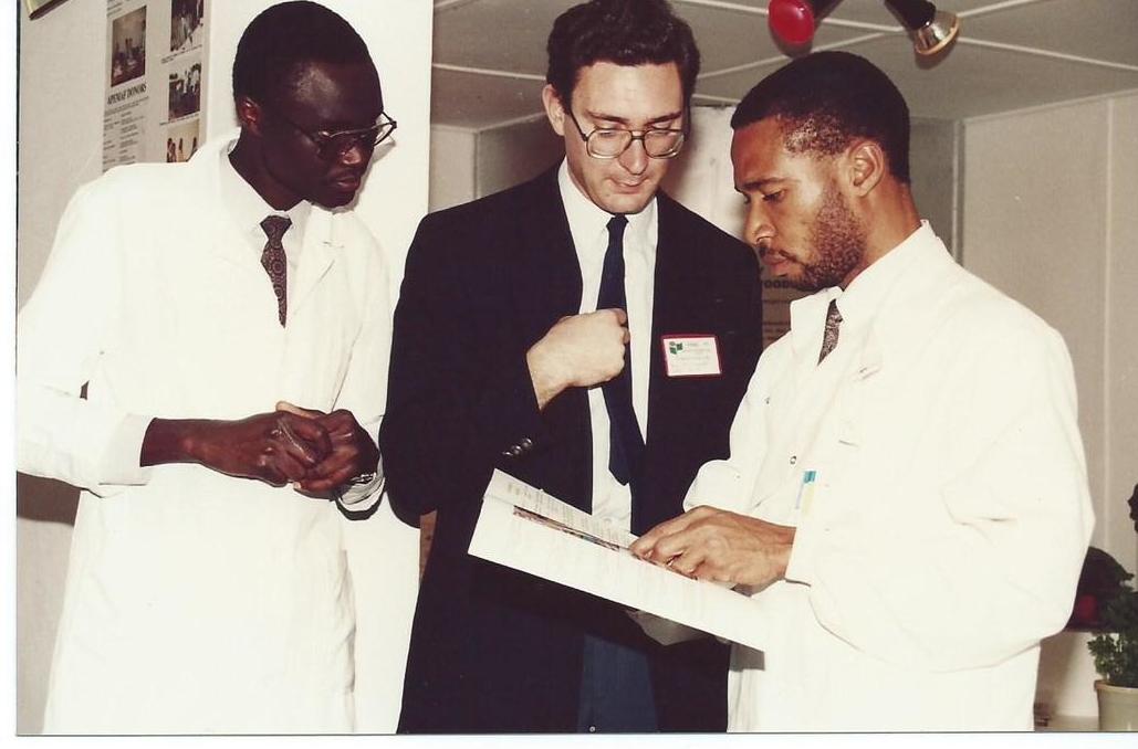 A BBC Journalist (centre) Interviewing  in Nairobi, Kenya  ABI-GIDE PhD Students -now Prof. F. Ejobi, Ugandan(left) and Dr. N. Nwoke, Nigerian(right).