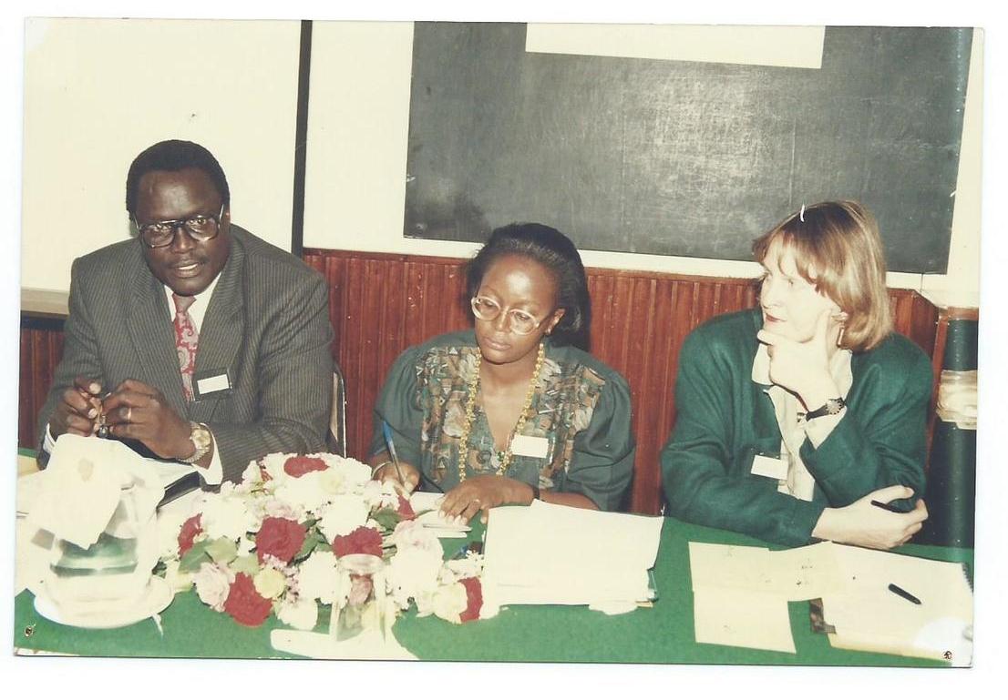 Ambassador Simon Bullut (left), former Ambassador of Kenya to France & Uganda, Ms. Ritta Nzao (center),Researcher, from TPRI, Tanzaniaand Dr. Eva Rathberger (right), IDRC Regional Representative for Eastern & Southern Africa for Officiating GIDE Workshop on Biodiversity Prospecting, Nairobi, Kenya, 1996