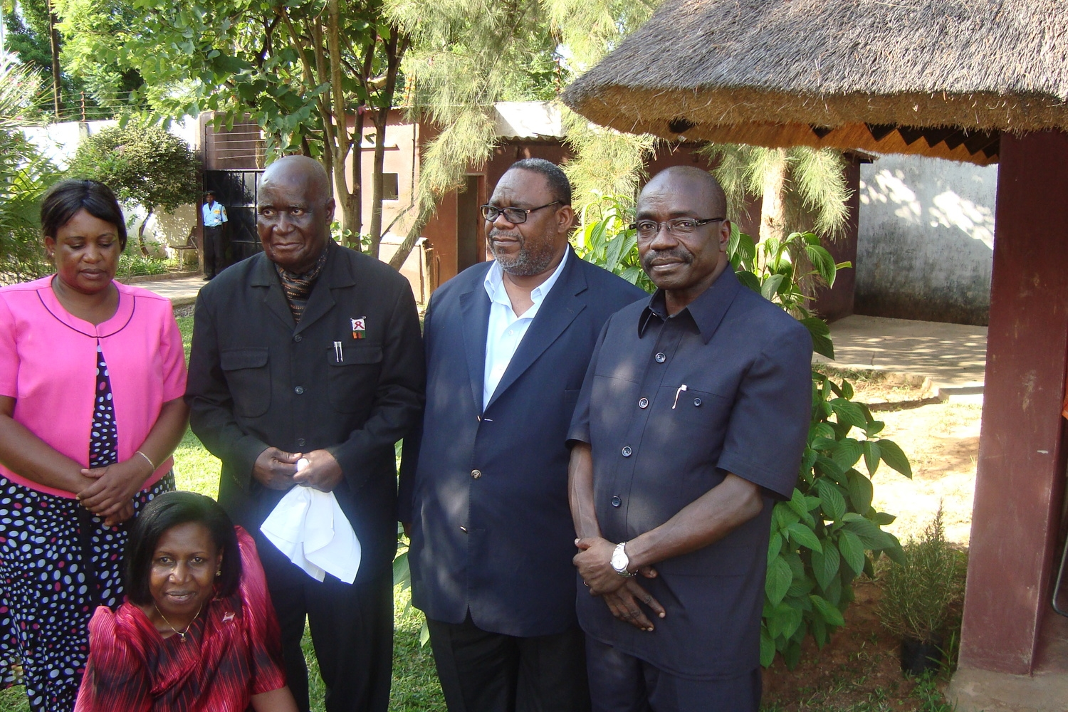 H.E. President Kenneth Kaunda (second from left) after he launched Alfred Latigo's book in Lusaka, Zambia, 2010. GIDE has an office for Southern Africa in Lusaka, Zambia. Also seen: the Paramount Chief Mpezeni of the Ngonis in Malawi & Zambia (2nd from right) and his wife (extreme left); and Mrs. Sarah Latigo (front)