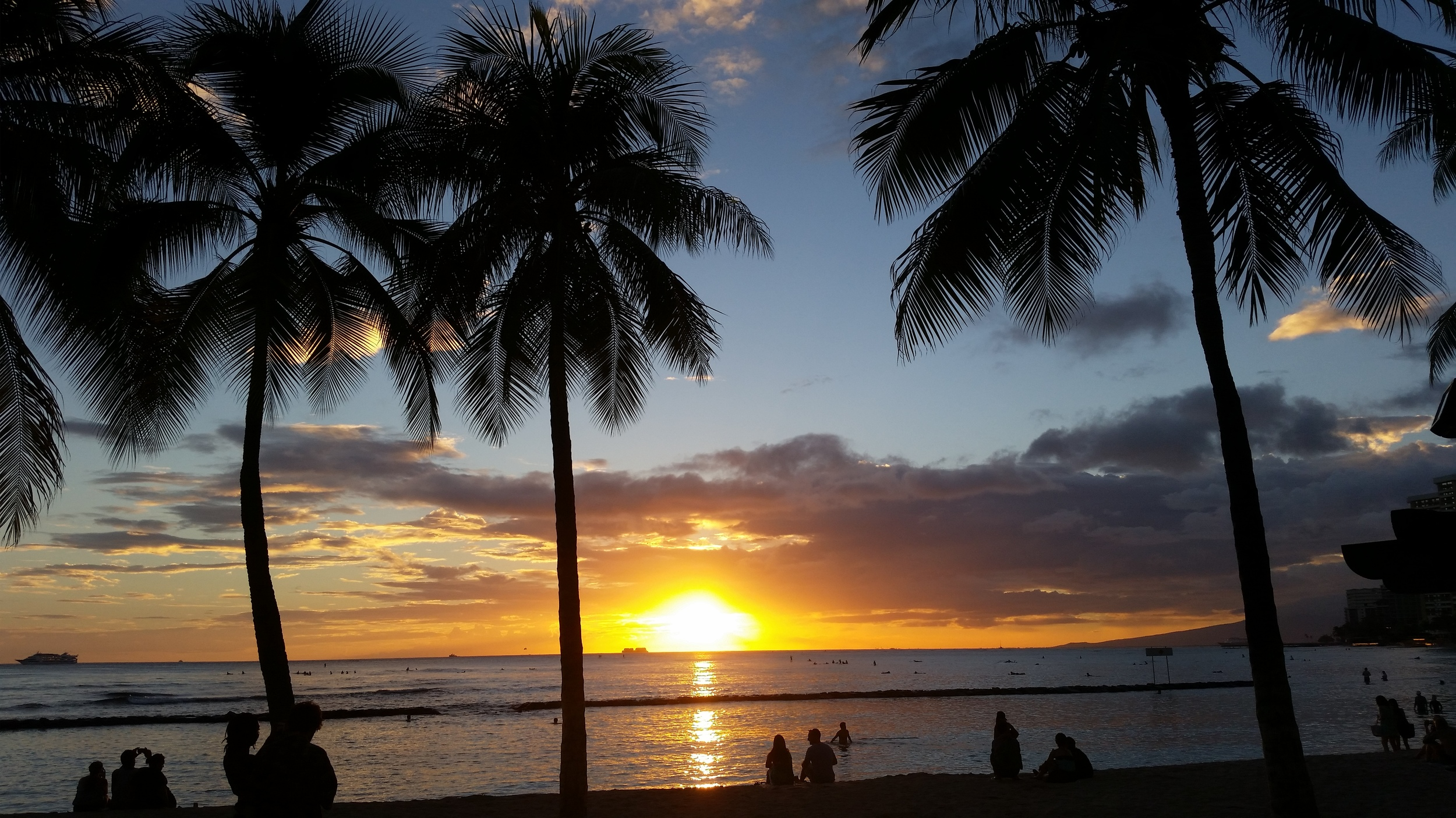 """Honolulu sunset over the Pacific ocean:  We need """"Impact Evaluation"""" now before it is too costly, too late to transform lives world-wide!"""