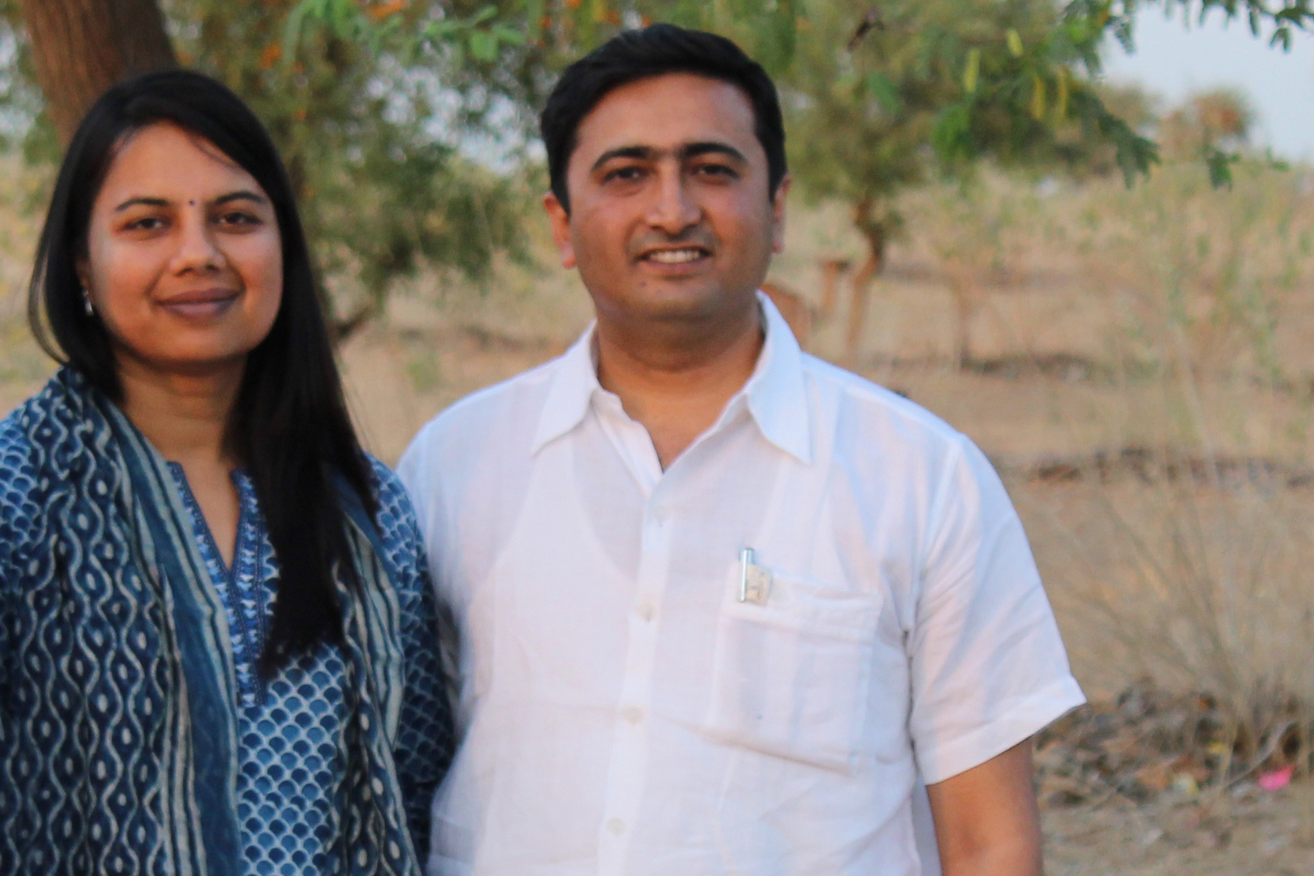 Rashmi and Devendra in the desert region of India, near the Pakistan border.