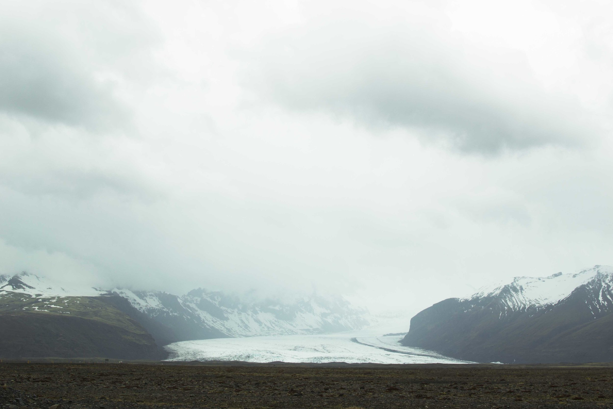 Vatnajökull as seen from the road-side.  It is the largest glacier in Iceland, the largest in Europe.