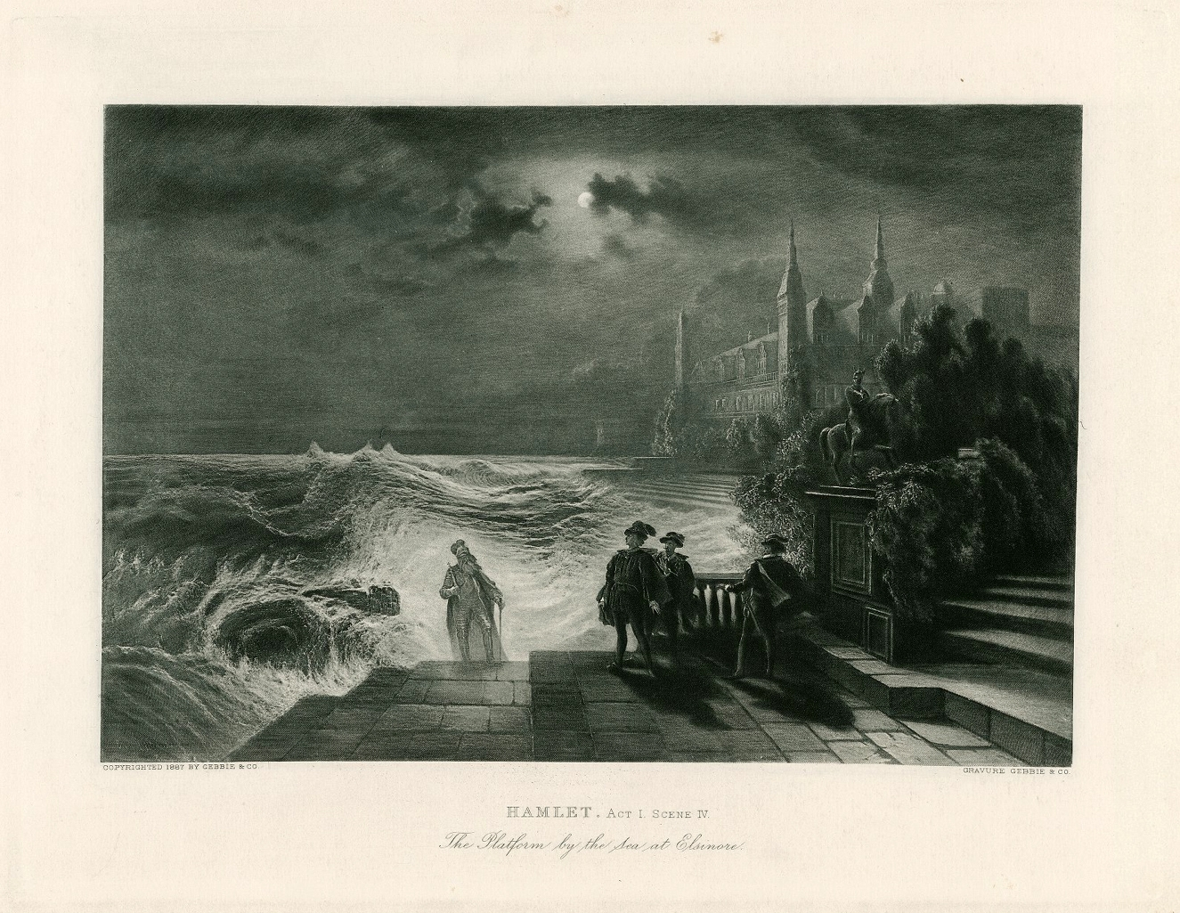 Hamlet, act I, scene iv, the platform by the sea at Elsinore.Gebbie & Co., London.1887.