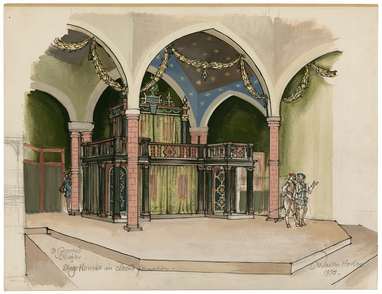 """St. Georges Theatre. The stage-houses in """"closed"""" formation, with figures. C. Walter Hodges."""