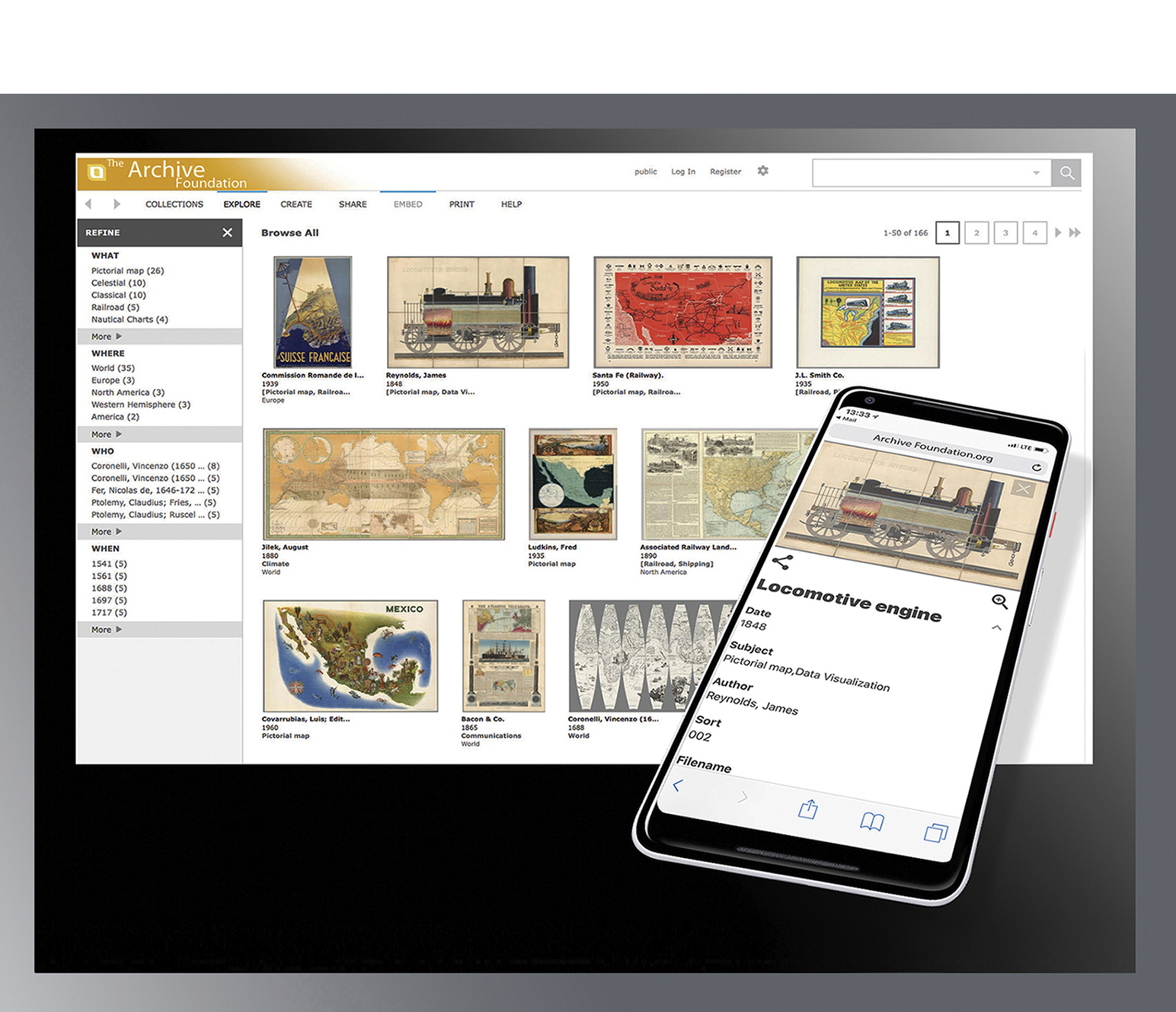 Search & Display Features: - Collection SelectionMedia Group ViewingFacetsRelated MediaKeyword SearchingThumbnail Size SelectionImage Zooming, Thumbnail Navigation, and RotationData DisplayBrowse images by paging (desktop), swiping (mobile)Share and Embed (Includes URL to IIIF manifest)