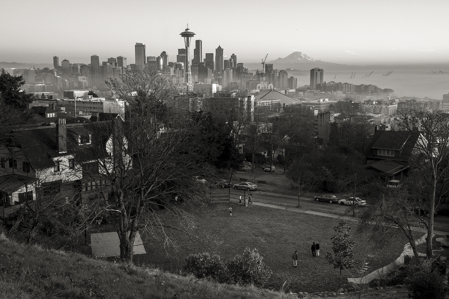 View from Kerry Park  , Kerry Park, Seattle, WA, USA    47.629439, -122.360102   雾散西雅图  ,美国华盛顿西雅图    47.629439, -122.360102