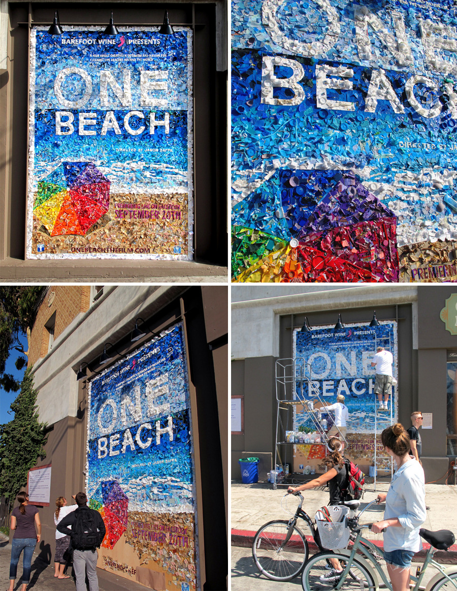 Venice Beach, CA — Mosaic Poster stunt, we collected trash from the local beaches and constructed this poster on the side of the Mollusk Surf Shop. It stood for two weeks leading up to the bi-coastal film premiere.