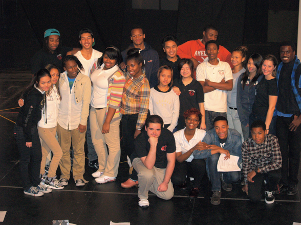 "Co-Directors, Davon Williams and Monica Stephenson with the students of South Philly High's ""We Write South Phily High"" production at the WIlma Theatre."