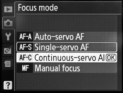 AF-A = Autofokus Automatisch, AF-S = Einzelautofokus, AF-C = Kontinuierlicher Autofokus, MF = Manueller Fokus