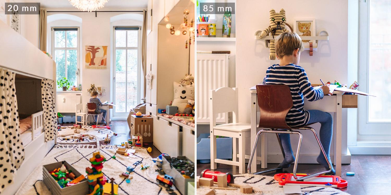 Alle 4 Aufnahmen im Kinderzimmer (20mm, 35mm, 50mm und 85mm) wurden vom gleichen Standpunkt aus gemacht.