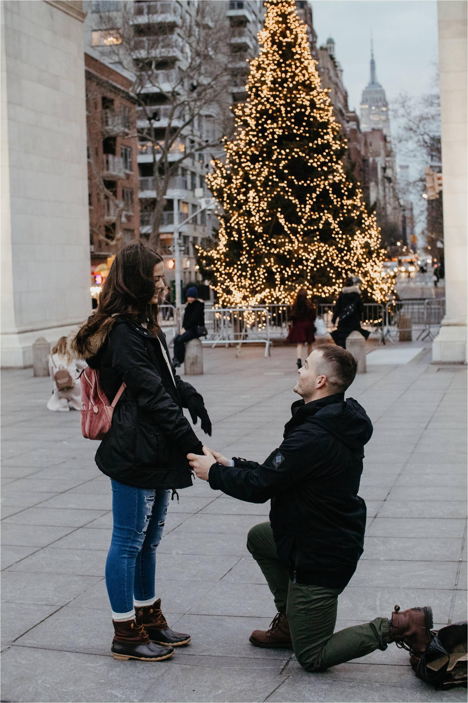 nyc proposal - washington square park engagement - washington square park proposal - nyc engagement photos - winter engagement photos nyc