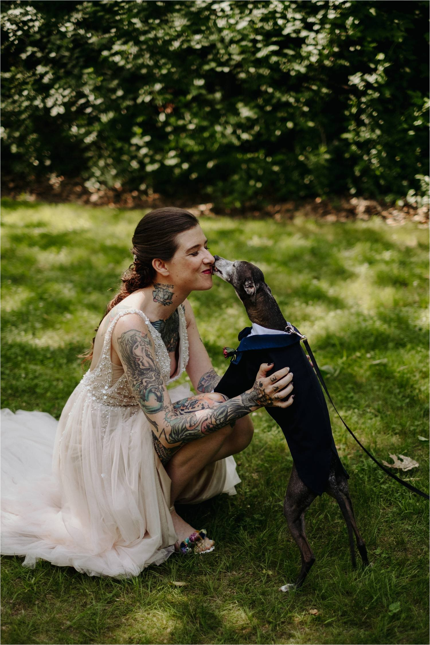Tattooed Bride wearing BHLDN Wedding Dress during First Look at Whitney's In Jackson New Hampshire - Jemima Richards