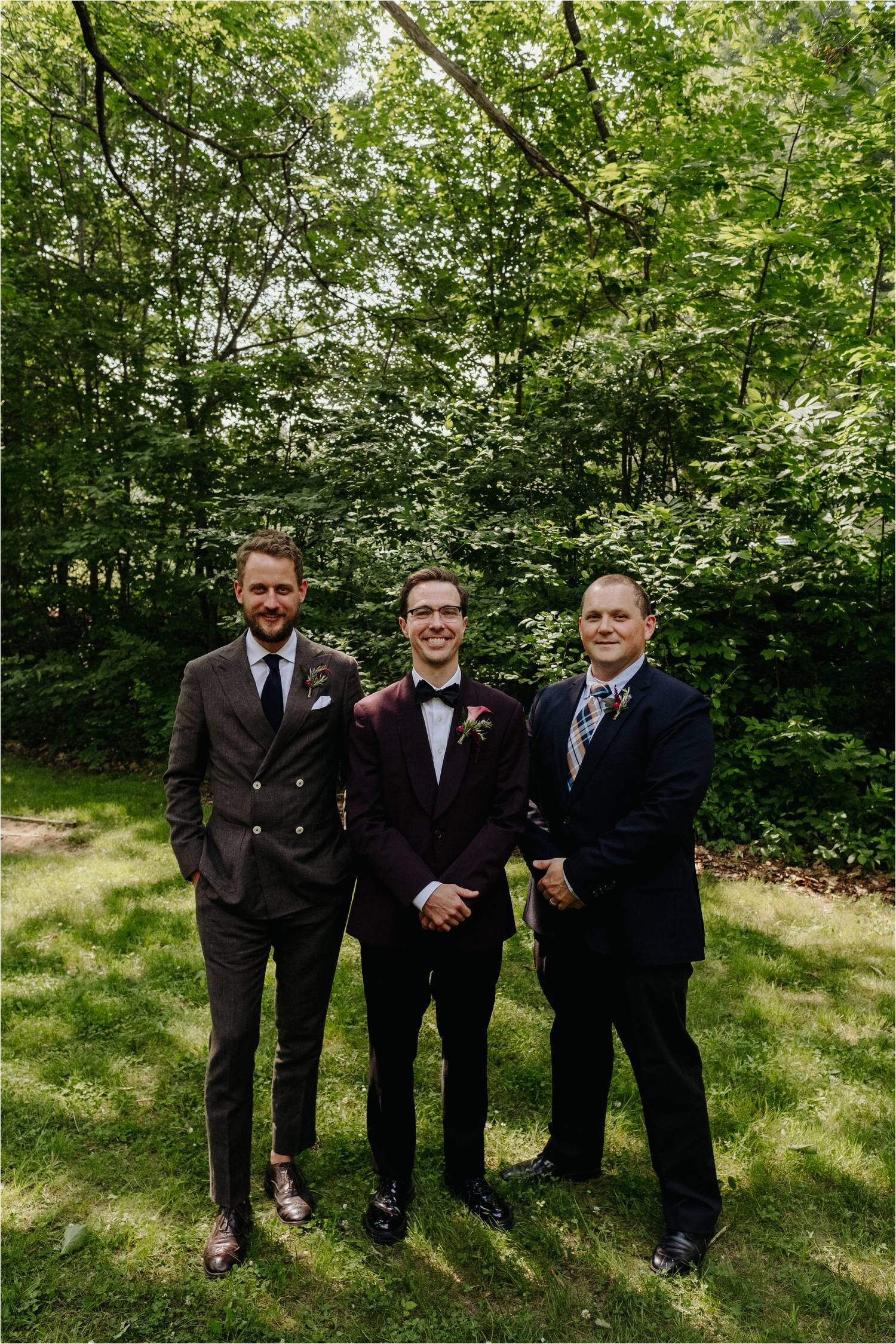 Groom & Groomsmen portraits at Whitney's In Jackson New Hampshire - Jemima Richards