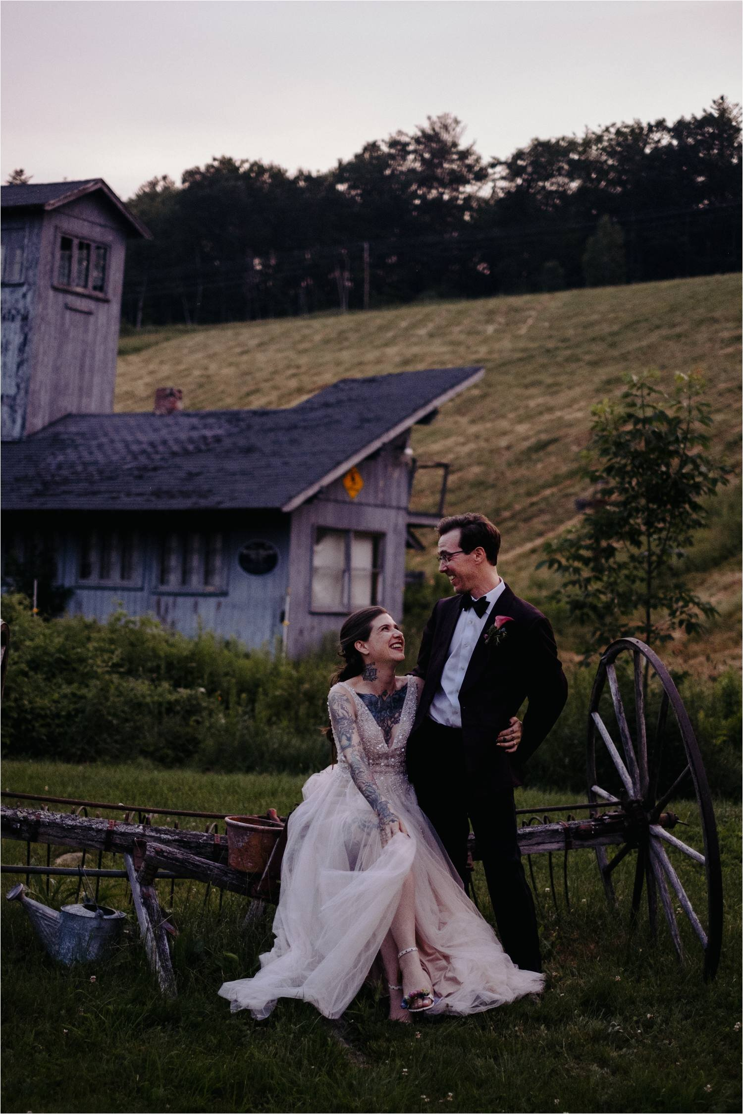 Tattooed Bride wearing BHLDN Wedding Dress & Groom at Whitney's Inn White Mountains New Hampshire - Jemima Richards