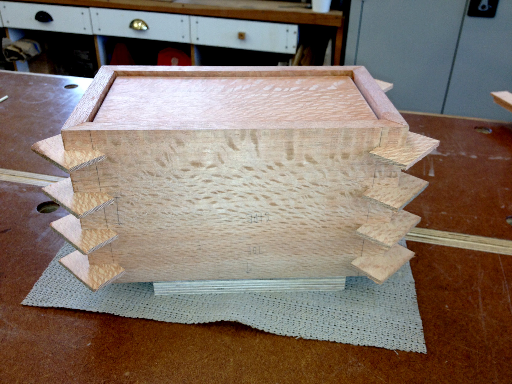 Jack's highly figured Silky Oak box before cutting the keys flush.