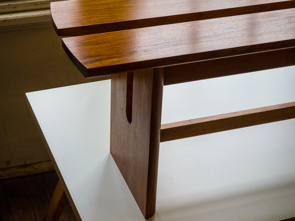 Dominique's bench seat in New Guinea Rosewood.
