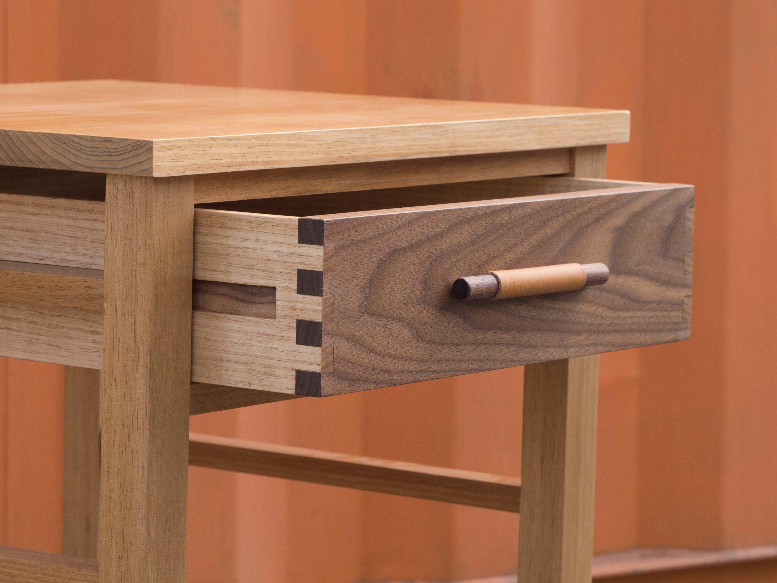 1 of 2 bedside cabinets made by Matthew. Tassie Blackwood, Walnut, Tassie Oak and Leather.