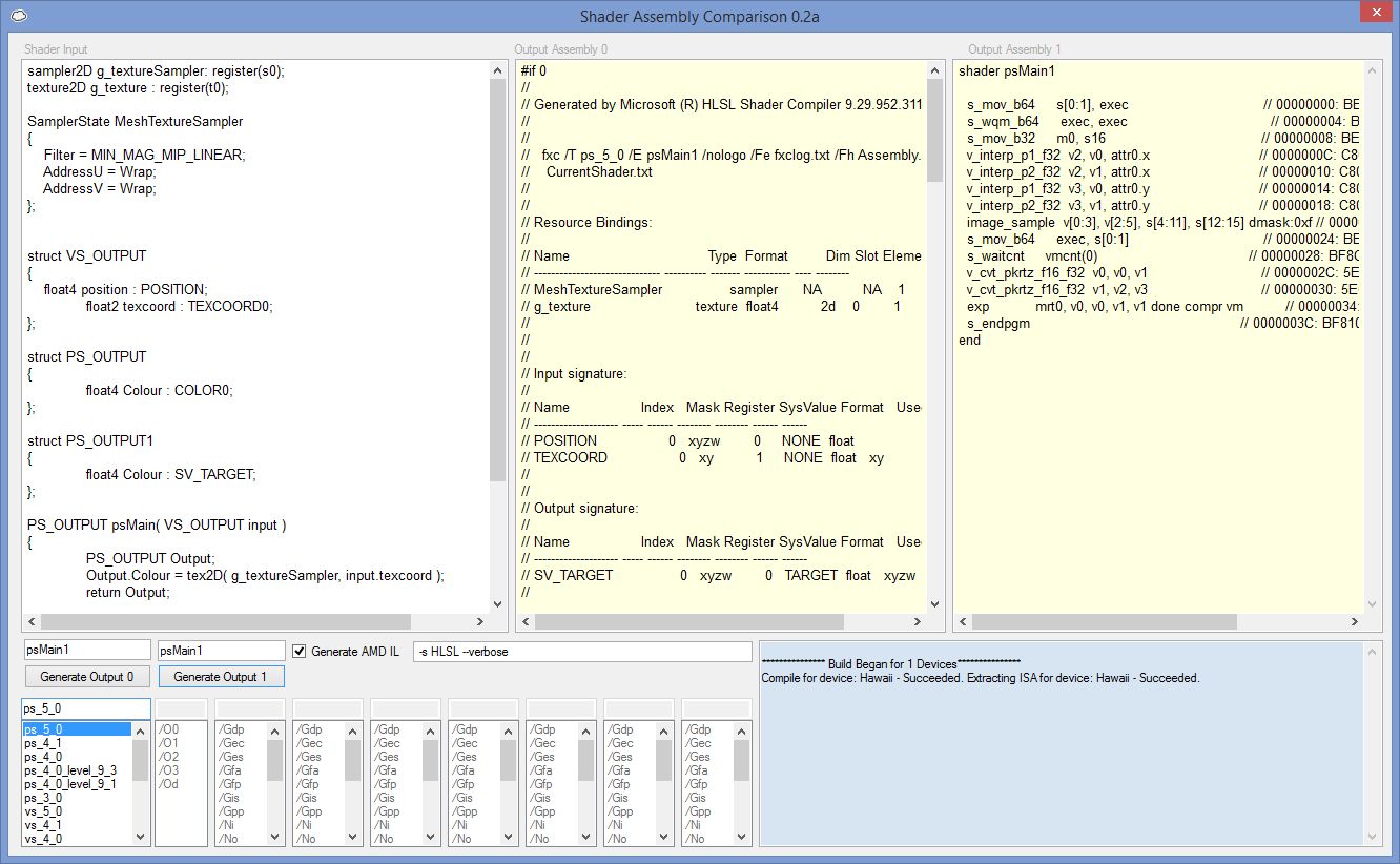 Showing the comparison between the generated DirectX ASM and AMD IL for PS_5_0