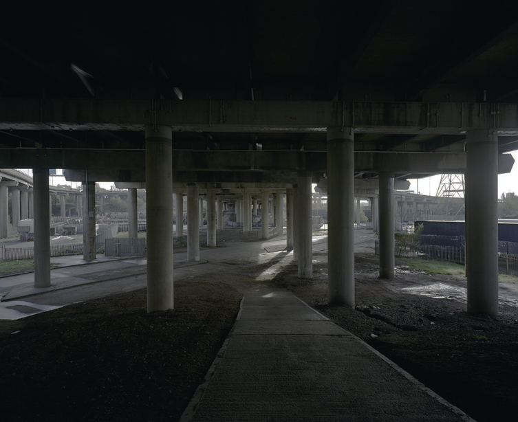 The path underneath Junction 6 is super reinforced concrete and one of the toughest road materials in existence. Not something you want to drop a rare 35mm film camera on, which of course I duly did just before taking this shot...