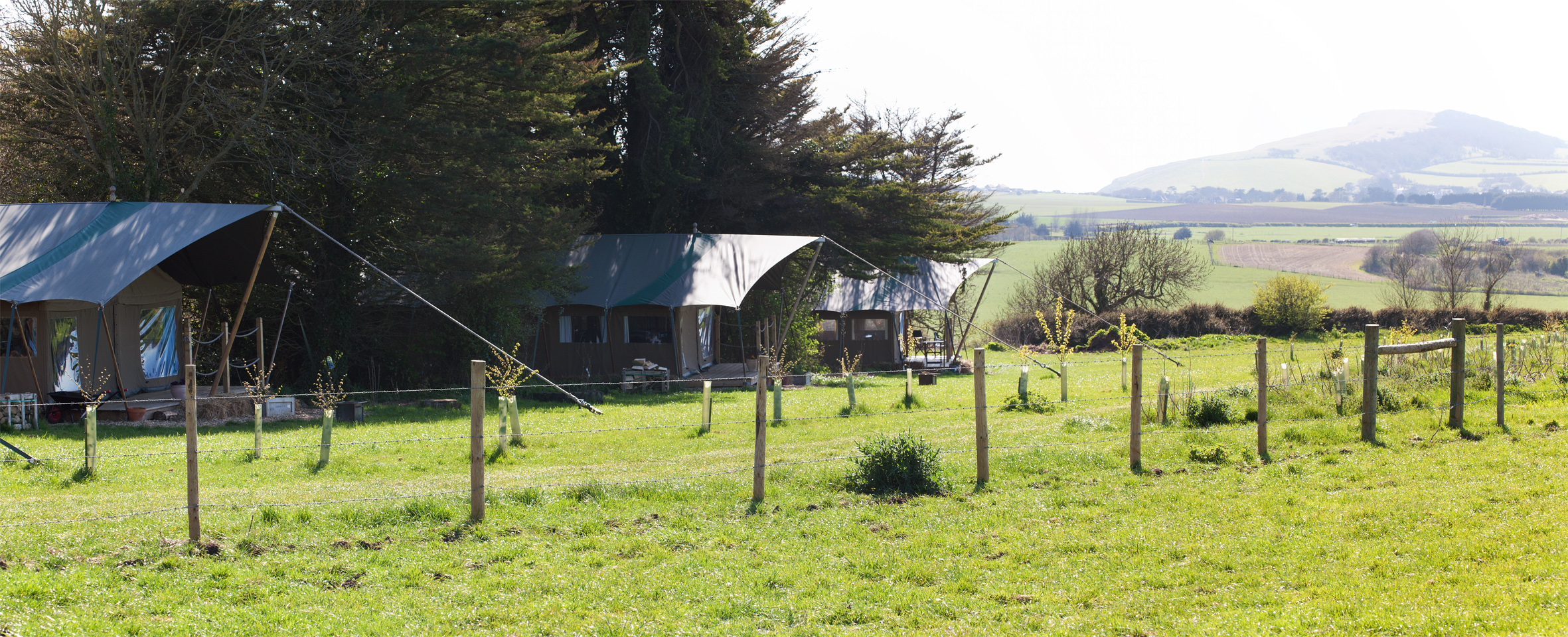 Nestled away on Tapnell Farm our 5 Eco Lodges share beautiful views of Tennyson Downs and The Solent with our cows!