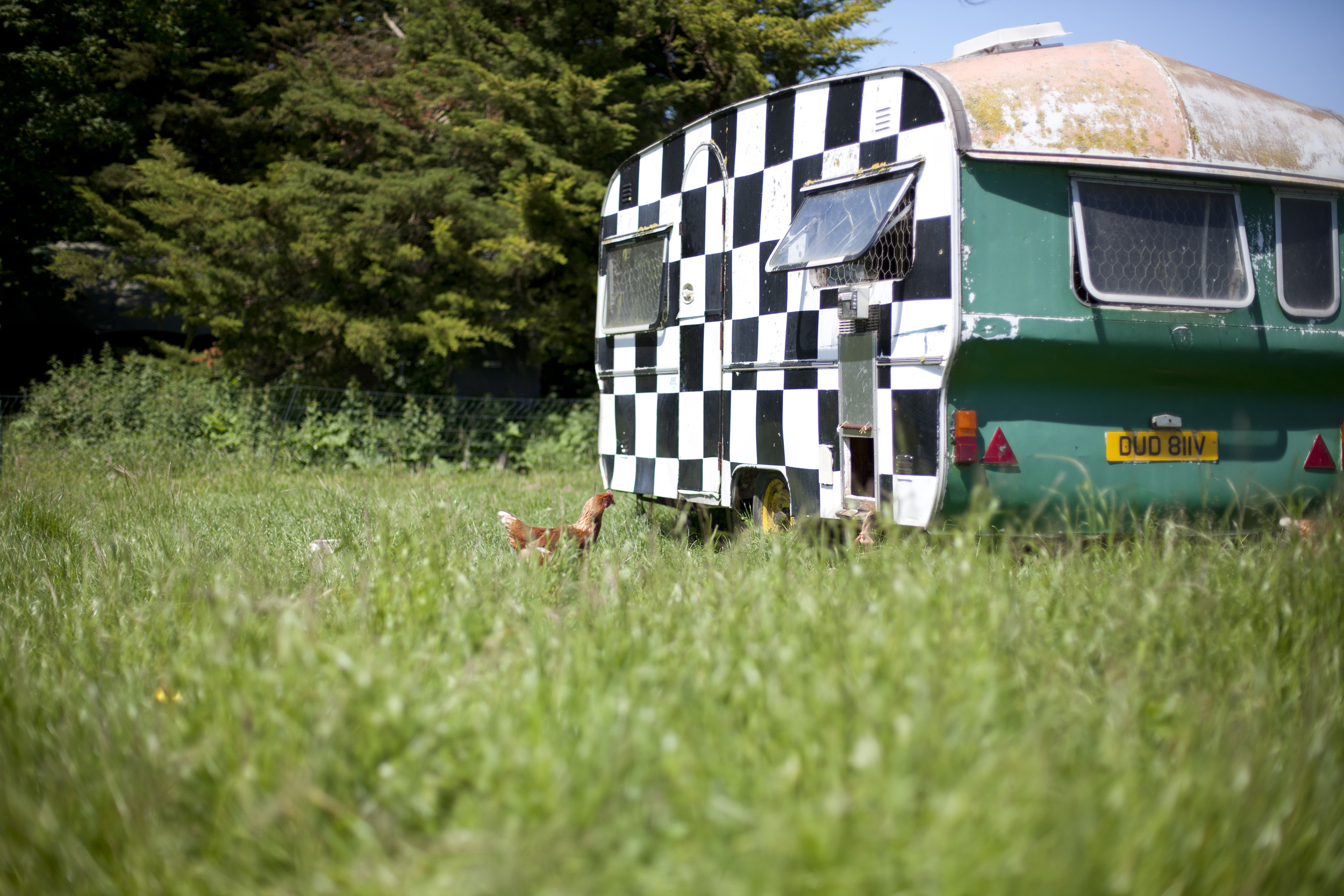 The Hen Caravan used to be the 'Banger Racing HQ'.. we kept it's very fetching check design