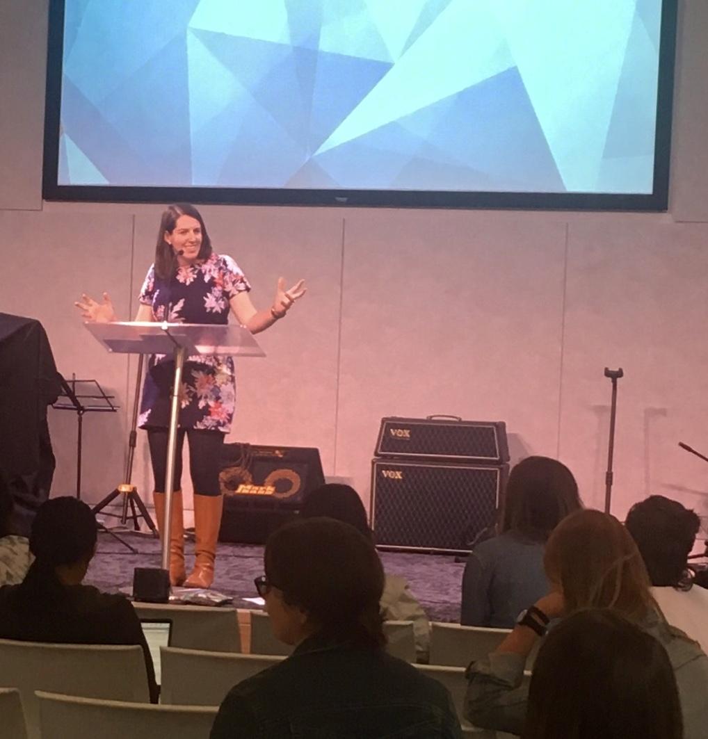 Caitlin Orr dry-running her talk on 1 Cor 14