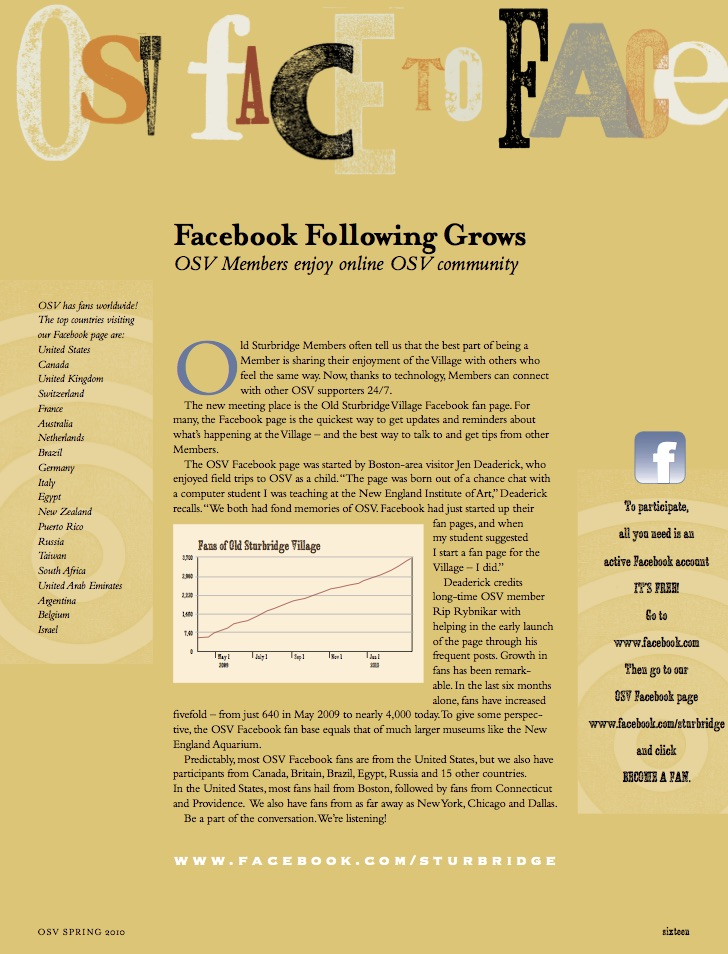 Lovely article in the Spring 2010 issue of the Old Sturbridge Village  Visitor   about the  OSVFacebook page .