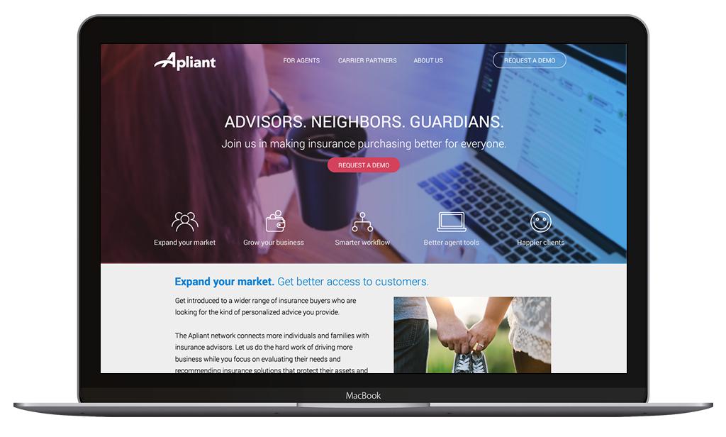 Apliant branding, website and platform  Developed logo and website design in addition to SAAS platform designs