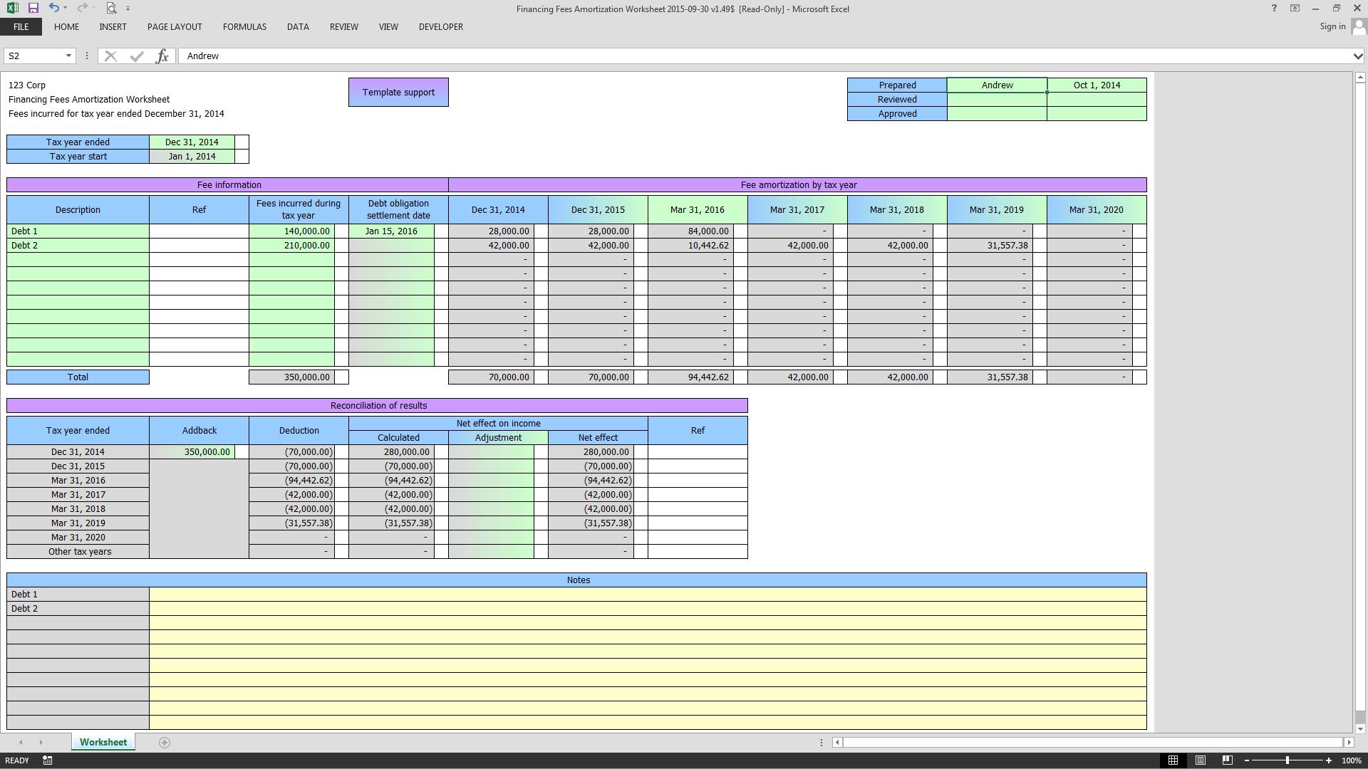 Financing Fees Amortization Worksheet
