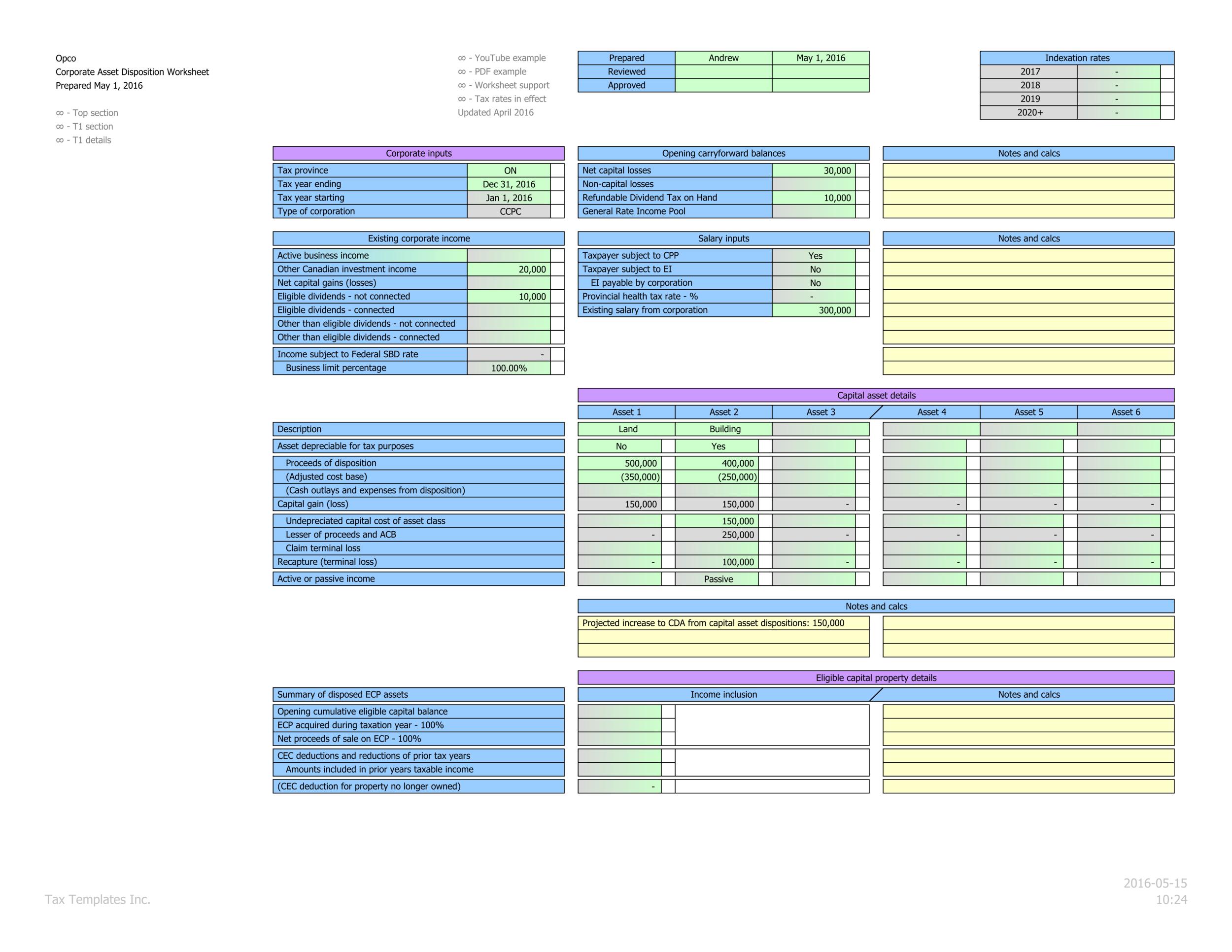 Main interface, capital assets, ECP