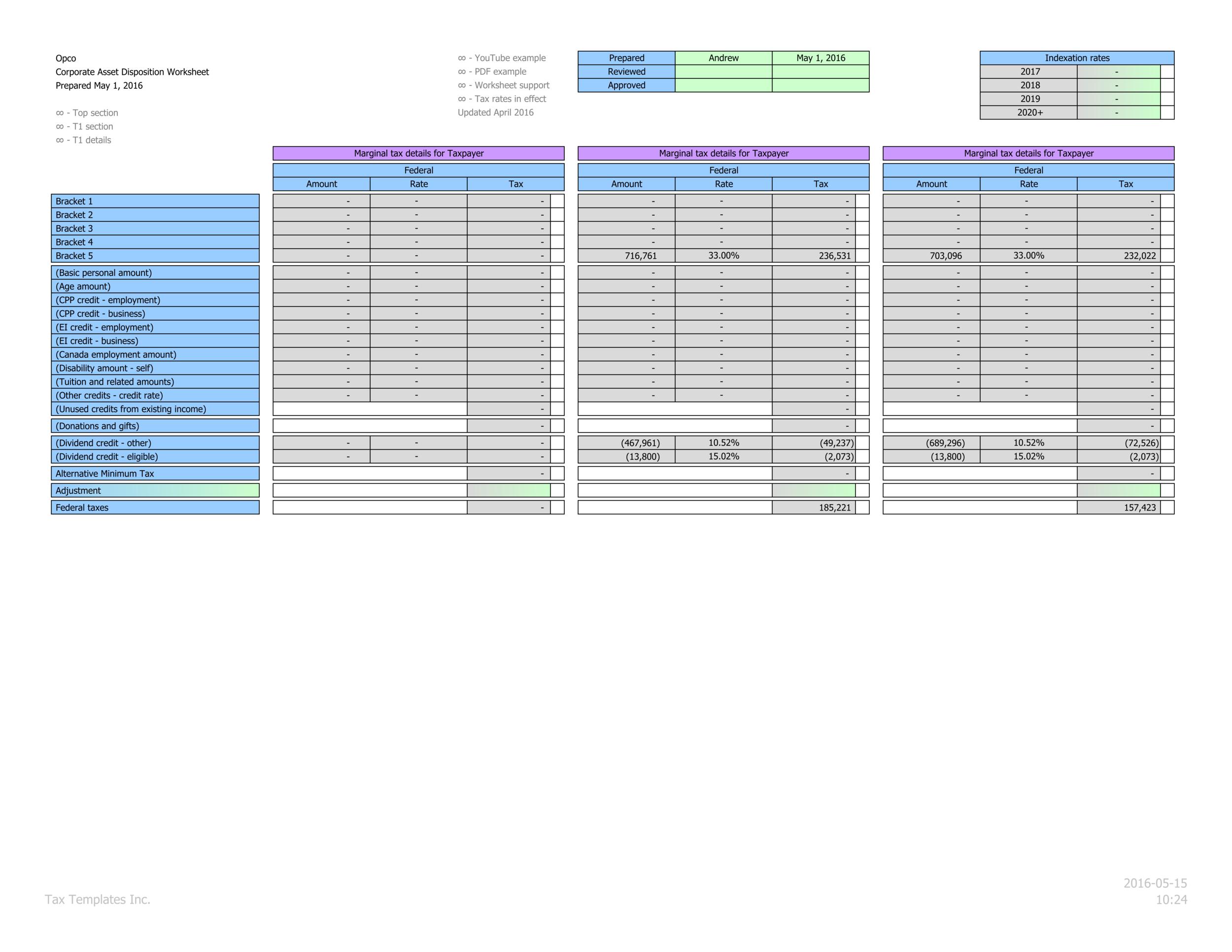 Marginal personal federal tax calculations