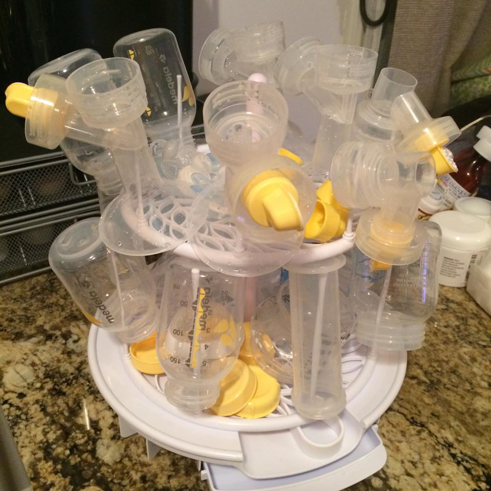 I wash and boils all the parts every day, I only use them once and if I don't have time to wash between pumps specially at night I use Medela wipes.