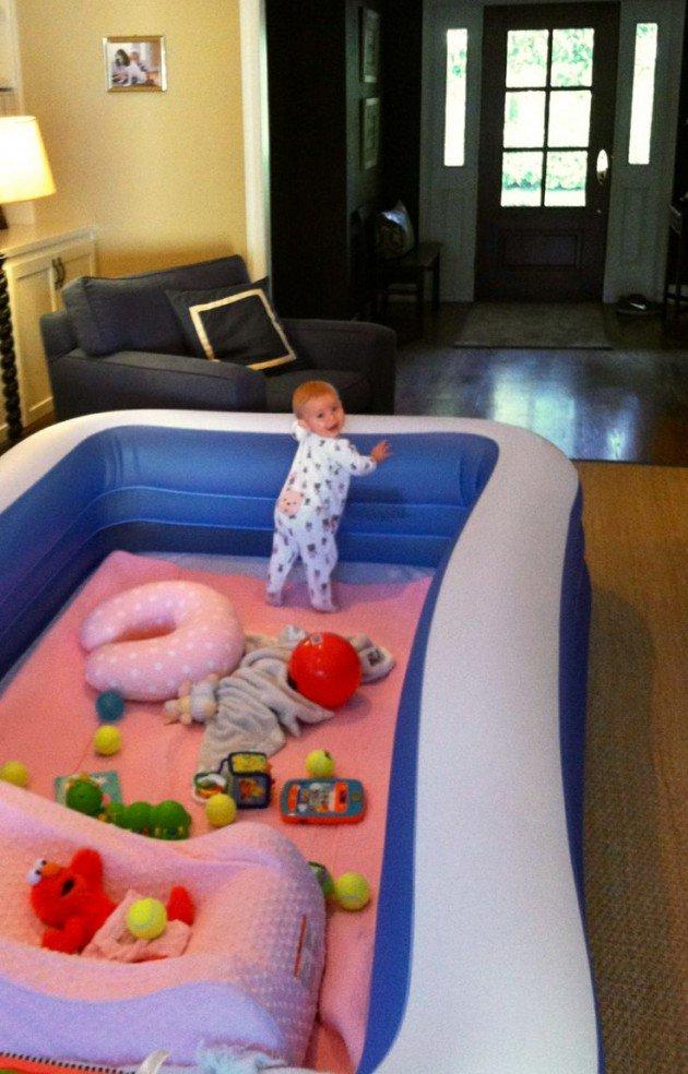 Genius Parenting Hacks- large blow up pool .