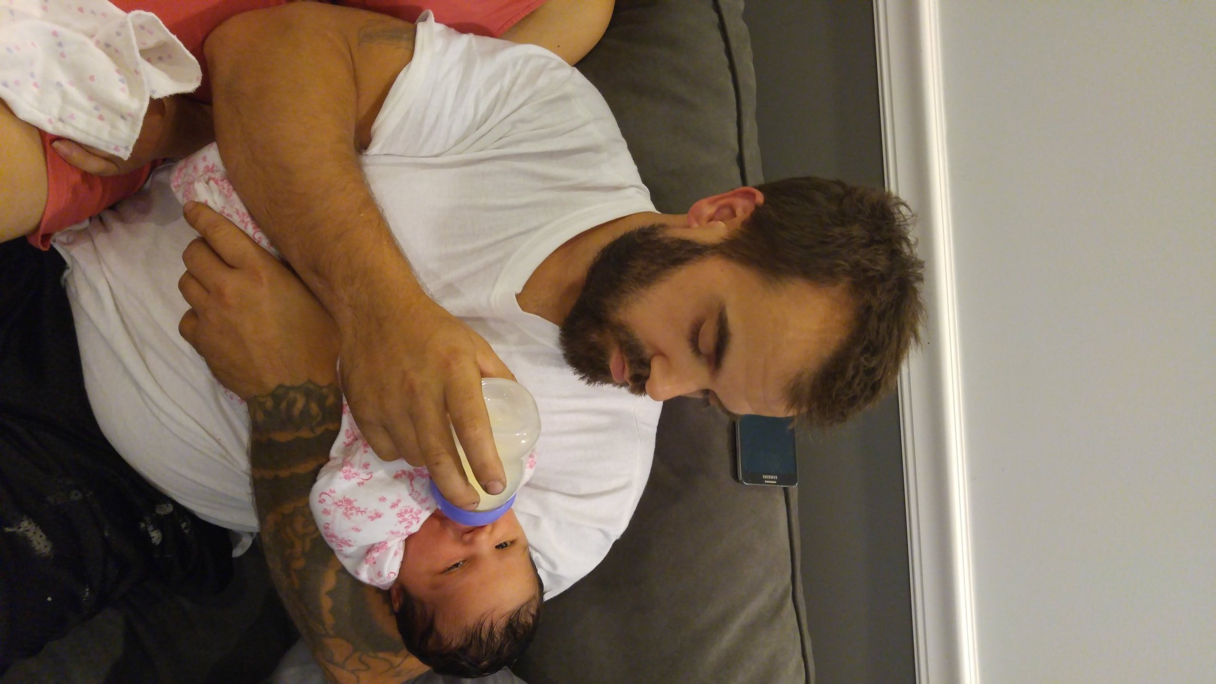 One plus to pumping- Daddy got to feed and bond.
