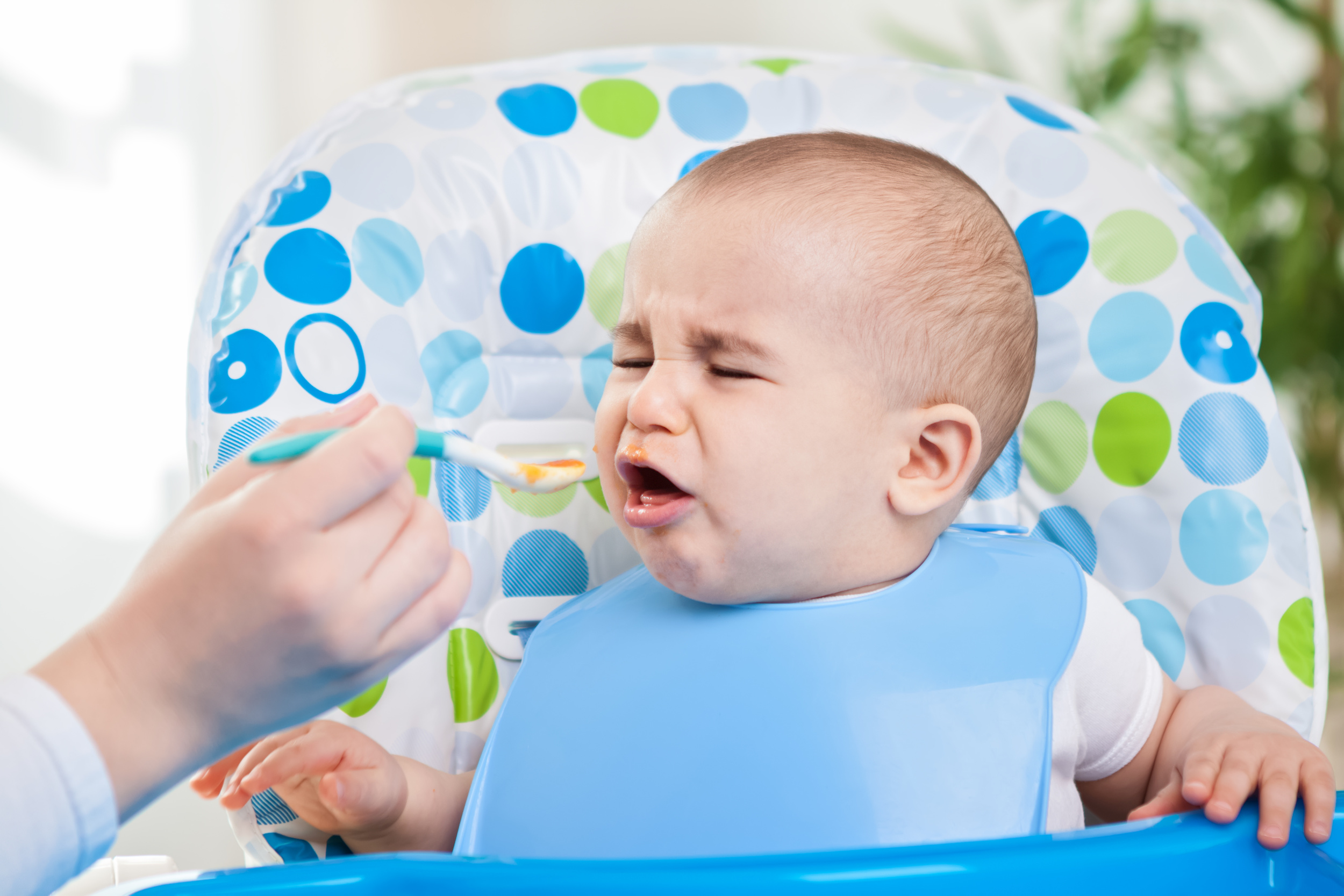 Angry baby doesn't like fruit mash