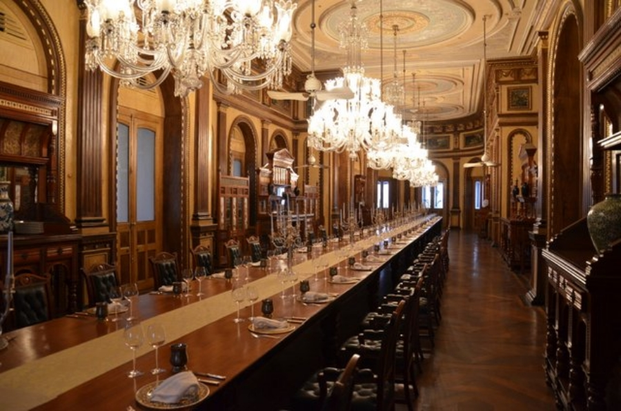 The world's longest dining table - Taj Falaknuma Palace in Hyderabad, India