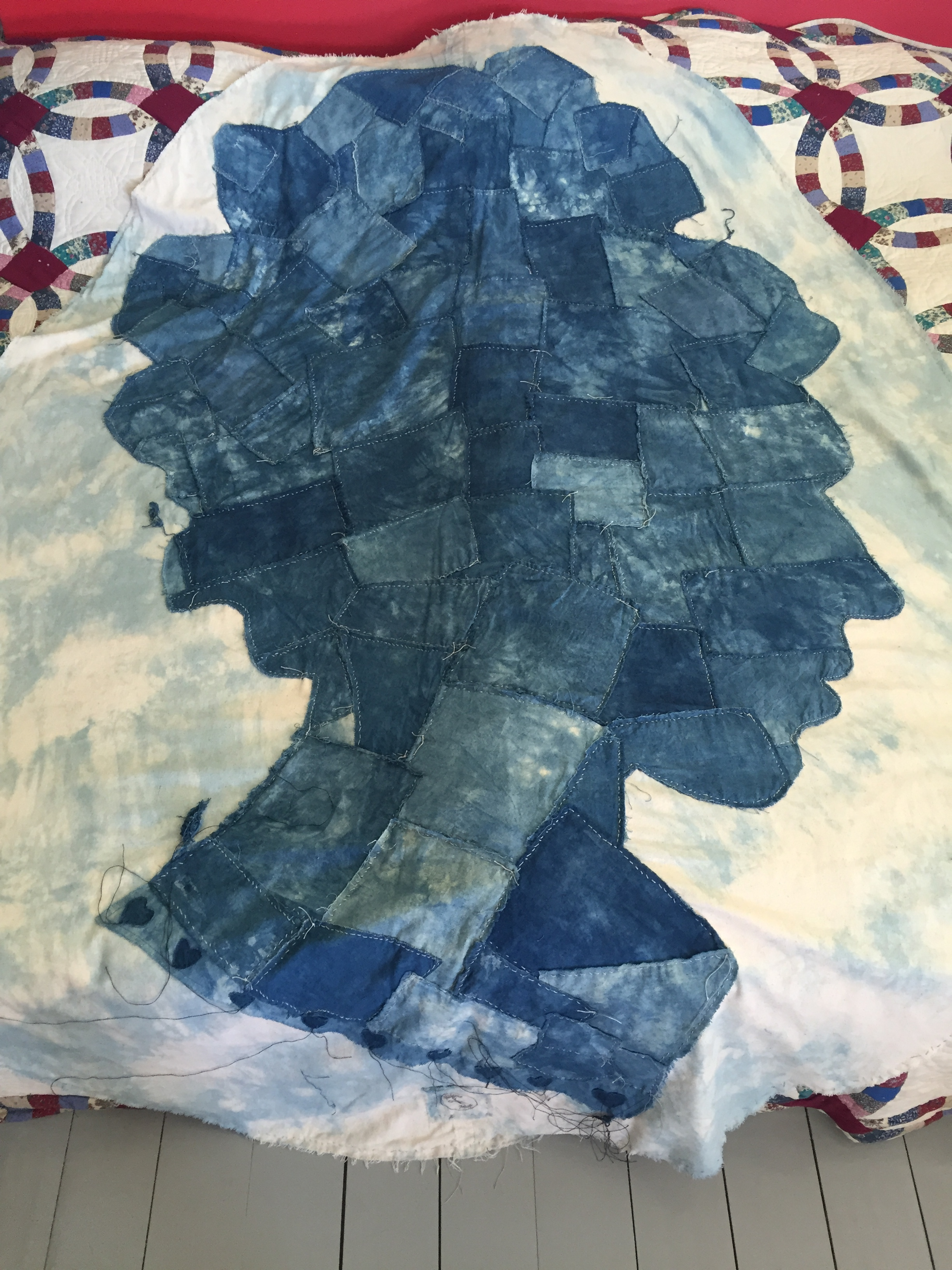 A quilt, featuring Eliza Pinckney's profile, hand-dyed and stitched by Mme. Magar.