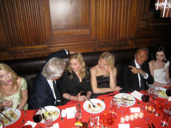 Because you never know who you'll end up seated next to at a dinner party later on... (L-R: Claire Danes, Giancarlo Giammetti, Madonna, Gwyneth Paltrow, Valentino, Anne Hathaway)