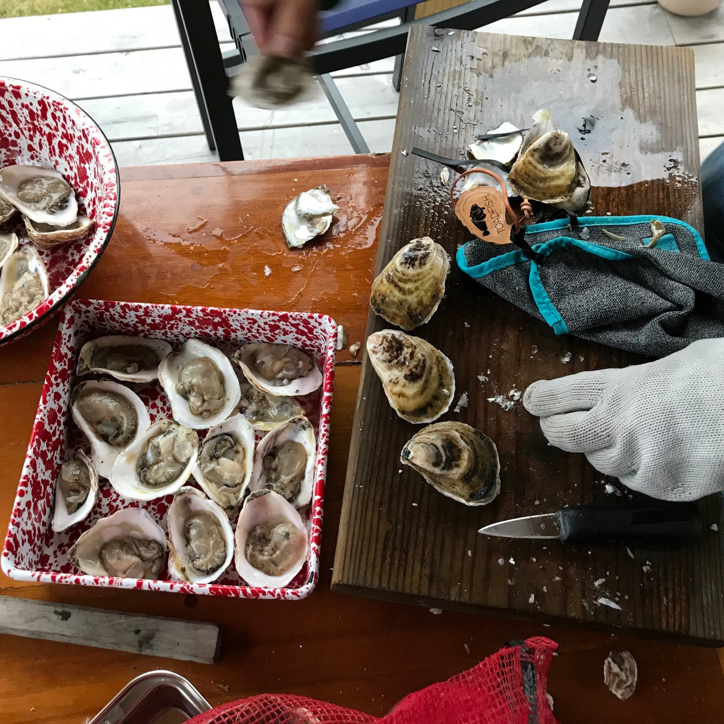 1. Shuck oysters.