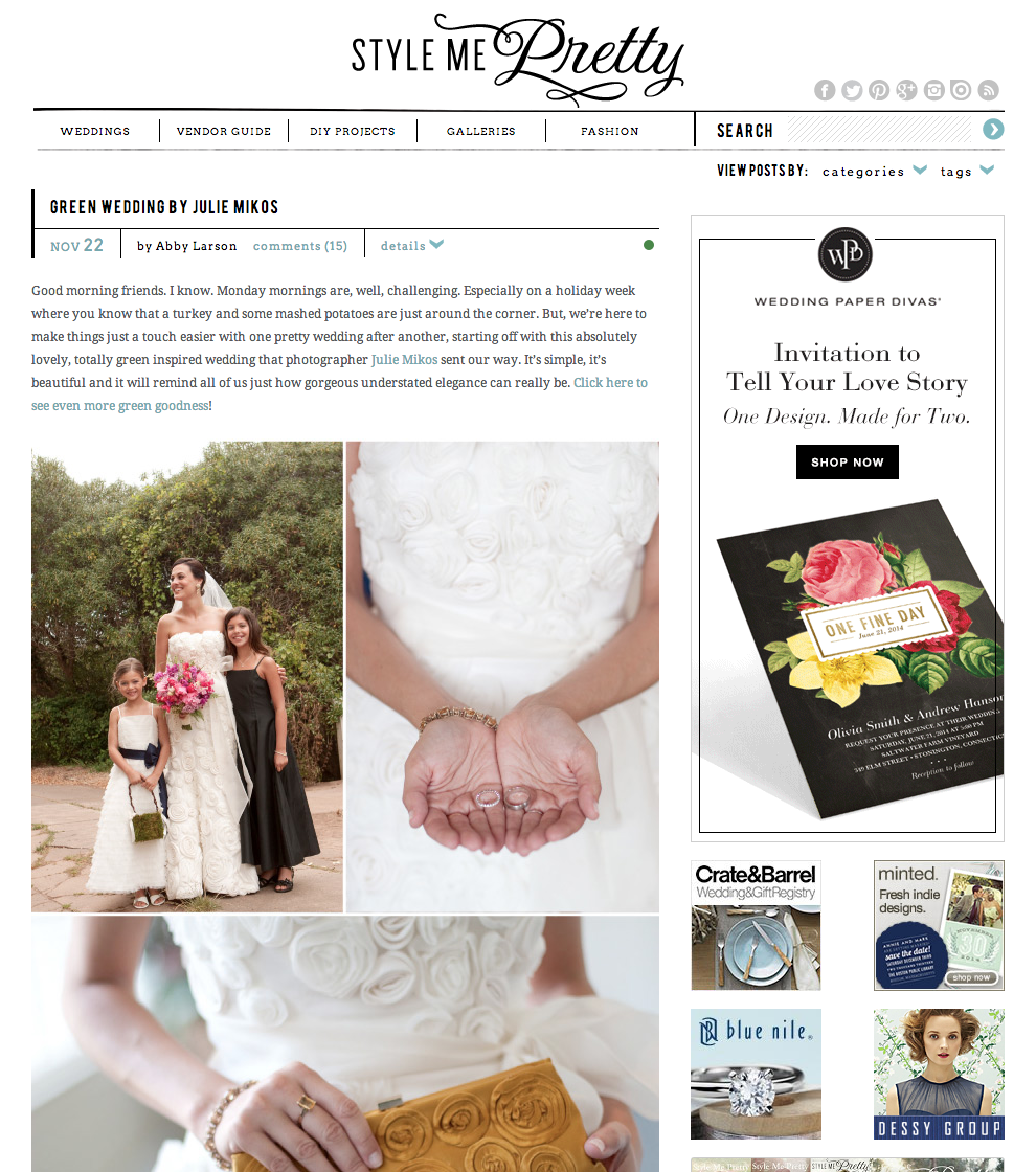 Green Wedding featured at Style Me Pretty